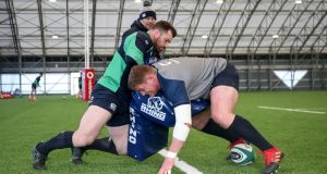 Tadhg Furlong and Cian Healy train ahead of Ireland's clash with Wales. Photograph: Dan Sheridan/Inpho