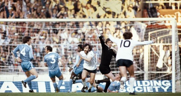 Ricky Villa  turns to celebrate after scoring the opening goal for Tottenham Hotspur in the  1981 FA Cup Final replay against  Manchester City at Wembley Stadium. Photograph: Allsport/Getty Images