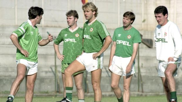 The Republic of Ireland Squad at the 1990 World Cup in Italy. The four players on the right are John Sheridan, John Byrne, Ronnie Whelan and Frank Stapleton. Photograph: Peter Thursfield