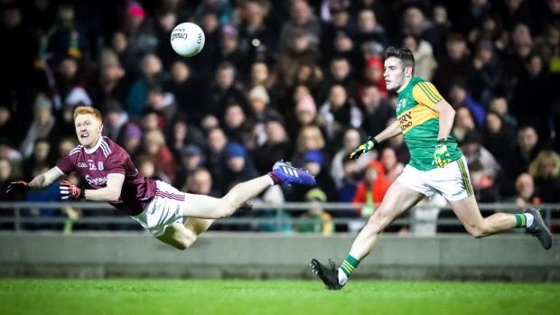Adrian Varley of Galway in action against Graham O'Sullivan of Kerry during the Allianz Football League Division 1 game at Austin Stack Park in Tralee. Photograph: Keith Wiseman/Inpho
