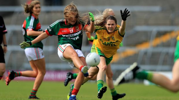 Katy Herron in action for Donegal against Mayo's Sarah Rowe during the side's All-Ireland quarter-final at Cusack Park, in Mullingar in August 2017. Photograph: Donall Farmer/Inpho