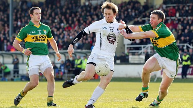 Kildare's Seanie Johnston scores a goal while under pressure from Shane Enright and Tomás Ó Sé of Kerry during the Allianz Football League Division 1 game in March 2013. Kerry went on to survive in the top flight despite losing their opening four games. Photograph: Cathal Noonan/Inpho