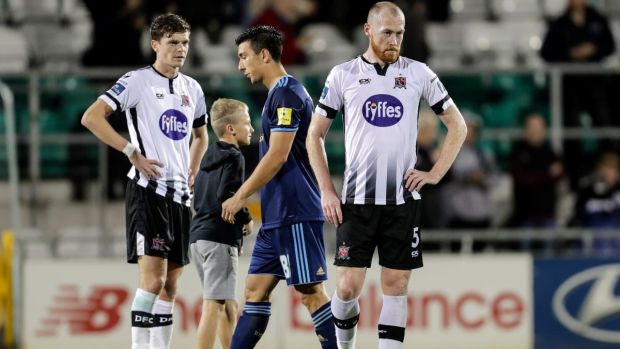 Dundalk's Seán Gannon and Chris Shields dejected after the Europa League third qualifying round, second leg against Slovan Bratislava at Tallaght Stadium. Photograph: Laszlo Geczo/Inpho
