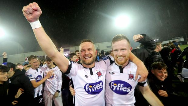 Dundalk's Dane Massey and Seán Hoare celebrate winning the Airtricity League Premier Division after the game against Shamrock Rovers at Oriel Park in September. Photograph: Ryan Byrne/Inpho