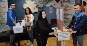 Young voters at Ronanstown Youth Service Centre where a mock polling booth has been set up to show  young people the voting process. From left: Eoin Carey, Rebecca O'Reilly, Kayleigh Harris and David Doyle. Photograph: Dara Mac Dónaill