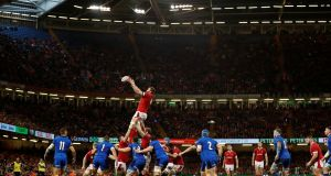 Jake Ball wins a lineout. All Wales' opening lineouts were off the top with immediate contact on the gainline a prerequisite. Photograph: Andrew Boyers/Reuters