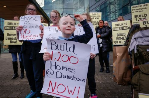 HOUSING CRISIS: Luke McDermott (5) takes part in a protest calling for more housebuilding, outside Fingal County Council offices in Dublin. Photograph: Crispin Rodwell/The Irish Times