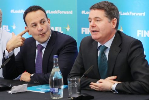 FACE THE PUBLIC: Taoiseach Leo Varadkar and Minister for Finance Paschal Donohoe during a press conference at the Institute of Technology Carlow. Photograph: Niall Carson/PA Wire