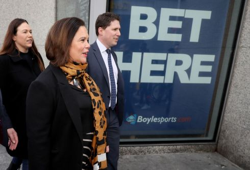 CAMPAIGN ADD: Sinn Féin leader Mary Lou McDonald (C) alongside party candidates Louise O'Reilly and Matt Carthy during a walkabout in central Dublin. Photograph: Brian Lawless/PA Wire
