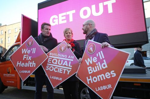 LABOUR DAY: Labour's Aodhán Ó Ríordáin, party director of elections Ivana Bacik and Ged Nash at an election campaign event. Photograph: Nick Bradshaw/The Irish Times
