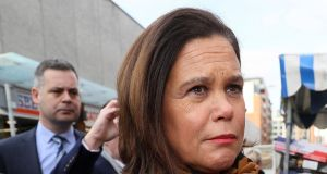 Sinn Féin leader Mary Lou McDonald: claimed the establishment was counting on young, working-class and lower-income people staying at home and not voting on Saturday. Photograph: Brian Lawless/PA