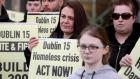 "Protesters attend a ""Homes for all"" rally outside Fingal County Council's offices in Dublin on Thursday. Photograph: Brian Lawless/PA Wire"