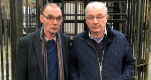 "Liam Wray (left) and Mickey McKinney, whose brothers were killed on Bloody Sunday, outside Bishop Street court house in Londonderry for the case involving ""Soldier F"". The ex-paratrooper is accused of murdering James Wray and William McKinney on January 30, 1972 when troops opened fire on civil rights demonstrators. PA Photo. Picture date: Friday February 7, 2020. See PA story ULSTER BloodySunday. Photo credit should read: David Young/PA Wire"