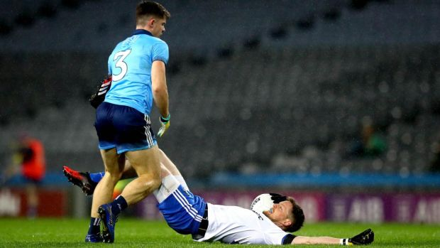 Dublin's David Byrne tangles with Conor McManus of Monaghan at Croke Park. Photo: Ryan Byrne/Inpho