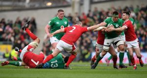 CJ Stander carries during his man of the match performance against Wales. Photograph: Daniel Leal-Olivas/Getty/AFP