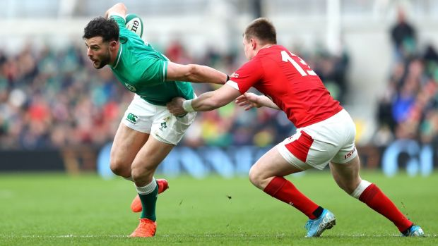 Robbie Henshaw is tackled by Nick Tompkins. Photograph: Warren Little/Getty Images