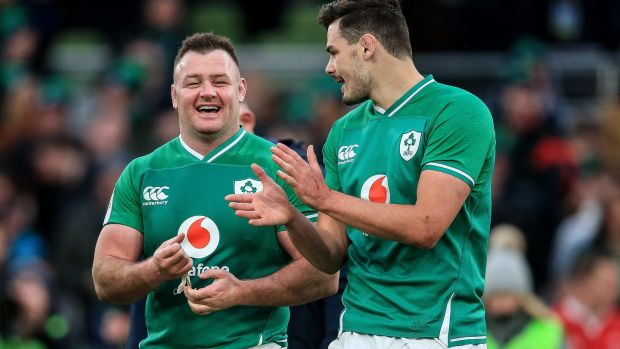 Ireland's Dave Kilcoyne and Max Deegan celebrate after their 24-14 win over Wales in the Guinness Six Nations Championship Round 2 match at the Aviva Stadium, Dublin on Saturday. Photograph: Gary Carr/Inpho
