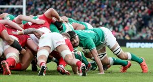 Ireland's Max Deegan in action during a scrum in the Guinness Six Nations Championship Round 2 match against Wales in the Aviva Stadium,  Dublin on Saturday.  Photograph: Dan Sheridan/Inpho