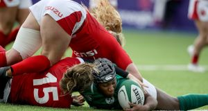 Ireland's Linda Djougang scores a try during the Women's Six Nations Championship match against Wales  in Donnybrook. Photograph:  Dan Sheridan/Inpho
