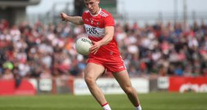Shane McGuigan scored seven points in Derry's win over Tipperary. Photograph: Lorcan Doherty/Inpho
