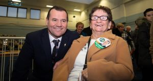 Sinn Féin TD Paul Donnelly with his mother Bridie at the Dublin West counting centre in Phibblestown Community Centre, Dublin 15. Photograph: Tom Honan