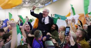 Thomas Gould of Sinn Féin  is elected in Cork North Central. Photograph: Yui Mok/PA Wire