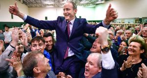 Micheál Martin of Fianna Fail reacts to being elected to the 33rd Dáil at for Cork South-Central on the sixth count. Photograph: Jeff J Mitchell/Getty Images