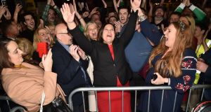 Sinn Féin's Mary Lou McDonald celebrates after she was elected in the Dublin central constituency at the RDS Smimmonscourt count centre on Sunday. Photograph:  Charles McQuillan/Getty Images