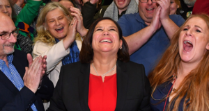 Sinn Féin party leader Mary Lou McDonald celebrates with her supporters after she takes the Dublin Central constituency on the first count Ben Stansall/AFP