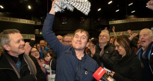 People Before Profit's Gino Kenny pictured after he was elected on Monday afternoon at Citywest Count Centre. Photograph: Colin Keegan/Collins