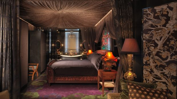 Interior designer Tala Fustok installed a Bedouin-style canopy of folded fabric above the super luxurious bed of the Mandrake Suite at the Mandrake Hotel in London's Fitzrovia.