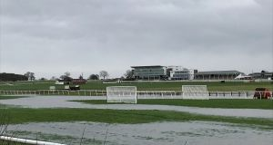 Wetherby racecourse on Monday - the Yorkshire track is heavily flooded. Photograph: Jamie Gardner/PA