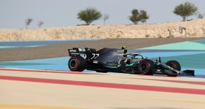 Mercedes' driver Valtteri Bottas in action during the 2019 Bahrain Grand Prix. Photograph: Karim Sahib/AFP/Getty
