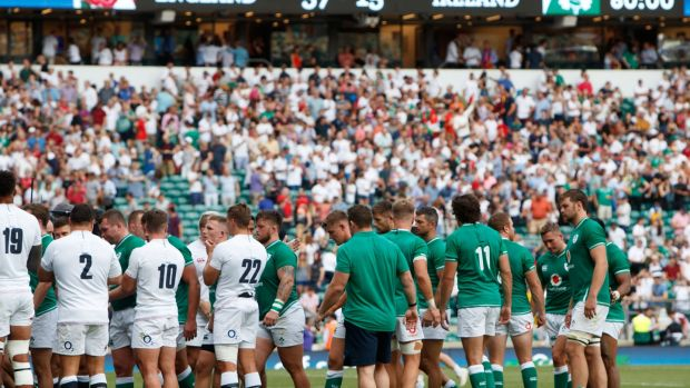Ireland's last appearance at Twickenham was a 57-15 defeat ahead of the Rugby World Cup. Photograph: James Crombie/Inpho