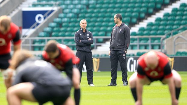 Stuart Lancaster and Andy Farrell in March 2015 during their time with England. Photograph: Andrew Fosker/Inpho