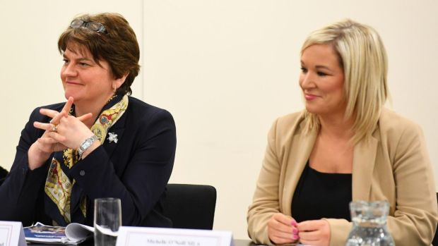 First Minister Arlene Foster and Deputy First Minister Michelle O'Neill. Photograph: Tom Martin/PA Wire