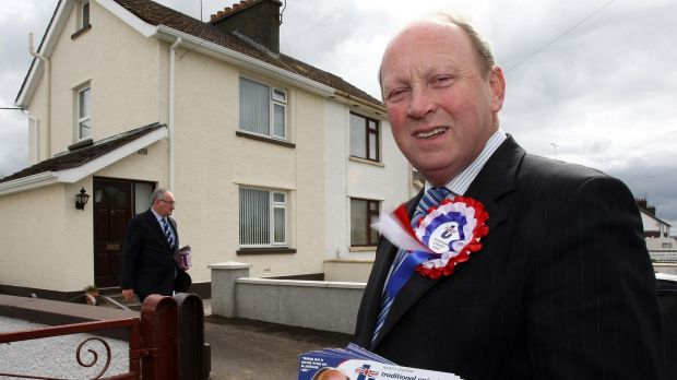 Jim Allister canvassing for votes in Cullybackey, Co Antrim, 2010. Photograph: Paul Faith/PA Wire
