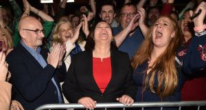 Sinn Féin leader Mary Lou McDonald celebrates with her supporters after being elected at the RDS Count centre. Photograph: Charles McQuillan/Getty