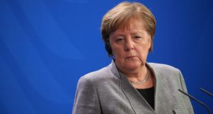 German chancellor Angela Merkel at a news conference  in Berlin on Monday. Photograph: Krisztian Bocsi/Bloomberg