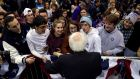 Democratic US presidential candidate Senator Bernie Sanders greets students at a campaign rally in Rindge, New Hampshire. Photograph: Mike Segar/Reuters
