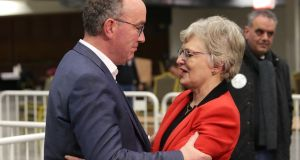Katherine Zappone, who lost her seat congratulates John Lahart, Fianna Fail who was elected in the Dublin southwest constituency pictured at the count centre in citywest. Photograph: Damien Eagers / The Irish Times