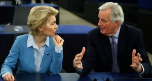European Commission president Ursula von der Leyen and Brexit negotiator Michel Barnier in Strasbourg on Tuesday. Photograph: Jean-Francois Badias/AP