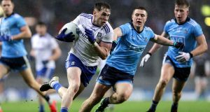 Monaghan's Niall Kearns is challenged by Dublin's John Small during last weekend's Allianz League Division One clash in Croke Park. Photograph: Laszlo Geczo/Inpho