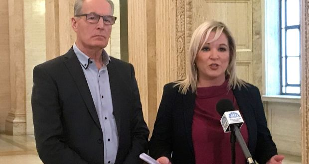 Sinn Féin vice-president Michelle O'Neill with MLA Gerry Kelly speaking in Parliament Buildings in Belfast. Photograph: Rebecca Black/PA Wire