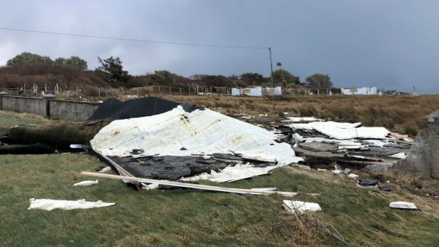 Remnants of part of the roof at Dooagh National School, Achill, Co Mayo. Photograph: Dooagh NS/Facebook
