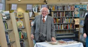 President Michael D Higgins at Cabra library on Tuesday. Photograph: Alan Betson