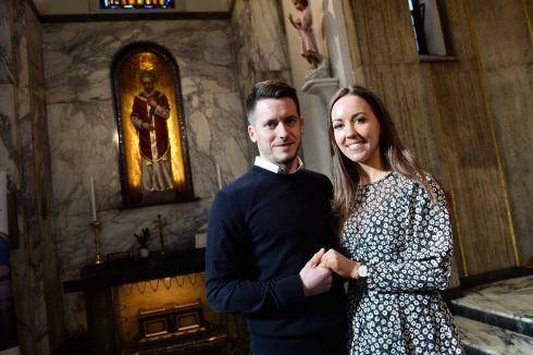HAND IN HAND: Engaged couple Michelle Connolly, Dublin, and Jonathan Hanley, Roscommon, were blessed by Bishop Denis Nulty at the Shrine of Saint Valentine in the Church of Our Lady of Mount Carmel, Whitefriar Street, Dublin. Photograph: Dara Mac Dónaill