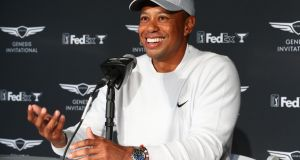 Tiger Woods speaking at  a press conference before  the Genesis Invitational in  California. Photograph:   Joe Scarnici/Getty Images