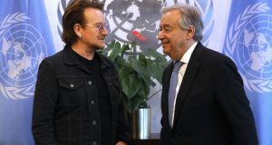 U2's Bono and António Guterres, the UN secretary general, in New York for the launch of Drive for Five. Photograph: Spencer Platt/Getty Images
