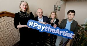 Jesse Jones,  Kevin Rafter, Orlaith McBride and Emmet Kirwan at the launch of the Arts Council's new policy and #paytheartist campaign to improve artists' working and living conditions by ensuring fair and equitable pay.